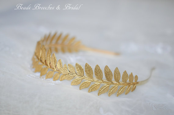 Gold Brass Leaf Grecian Headband Gold door BeadsBroochesBridal