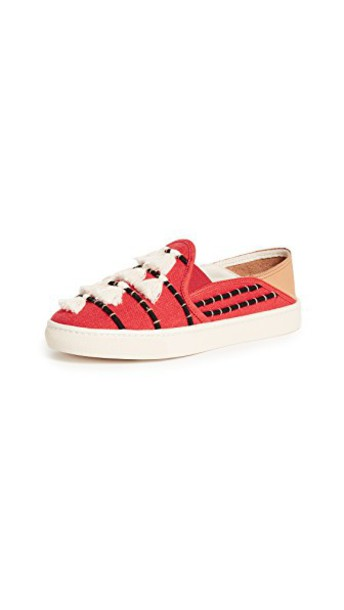 Soludos tassel sneakers beige red shoes