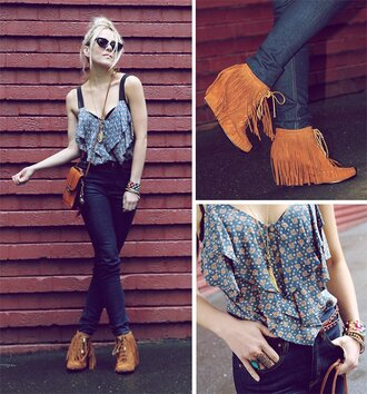 blouse jeans indian boots indian shoes suede shoes brown shoes fringes tassel wedges moccasins lace up ankle boots shirt