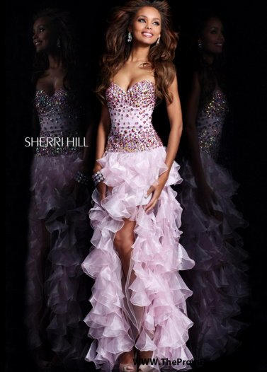 Sherri Hill 21104 Pink Jewel Beaded Top Ruffled High Low Prom Dress [Sherri Hill 21104 Pink] - $179.00 : Prom Dresses 2014 Sale, 70% off Dresses for Prom