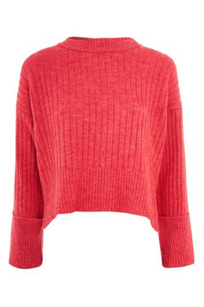 Topshop jumper cropped jumper cropped pink bright sweater