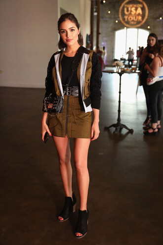 skirt mini skirt jacket olivia culpo top booties