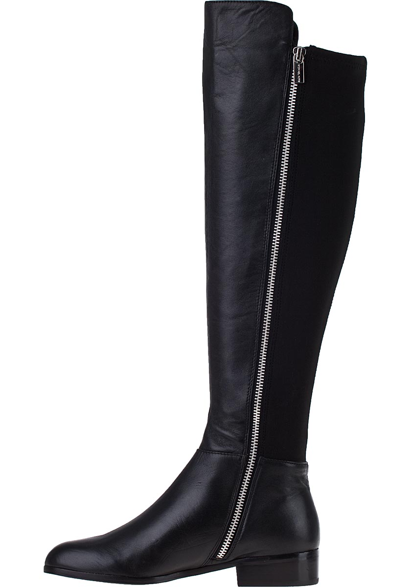 Michael Kors Bromley Flat Tall Boot Black Leather - Jildor Shoes ...