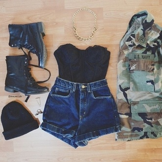 jacket camouflage camo jacket strapless high waisted shorts shirt shorts shoes jewels jeans blouse bustier top combat boots black tank top soldier amazing short steakmind