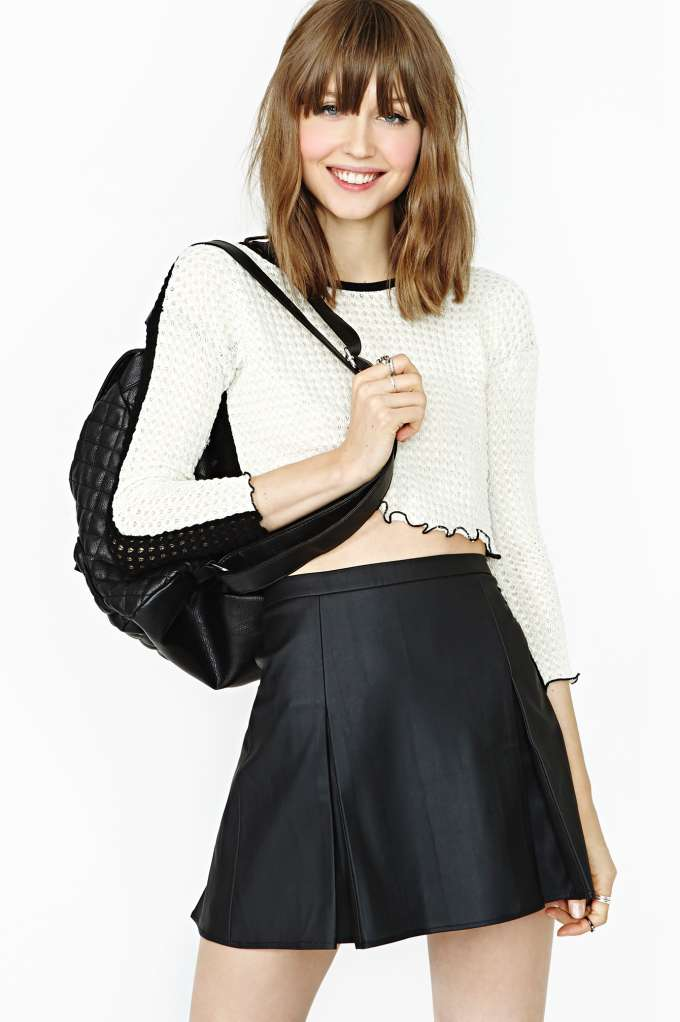 Nasty Gal Faux Real Varsity Skirt in  Clothes at Nasty Gal