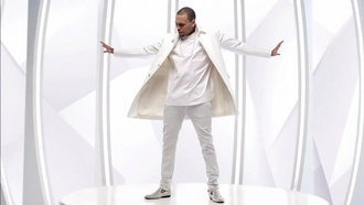 coat chris brown white breezy chrisbrown coat trench trenchcoat jacket suit