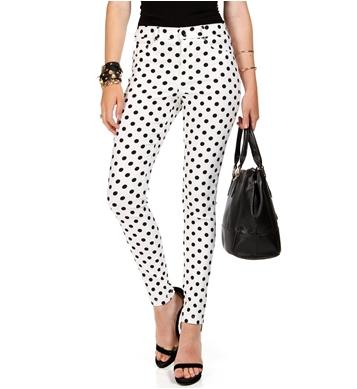 Whiteblack polka dot skinny pants