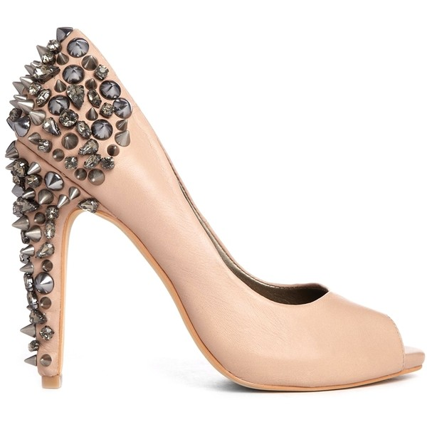 Sam Edelman Lorissa Nude Leather Heeled Shoes with Studded Heel - Polyvore