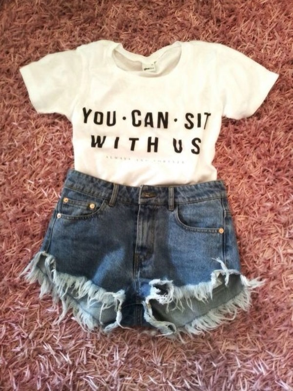 shirt mean girls sexy white t-shirt crop tops short shorts cut off shorts you cant sit with us bitch denim shorts frayed shorts shorts