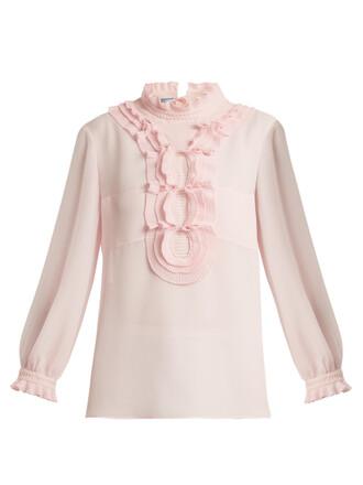 blouse ruffle light pink light pink top