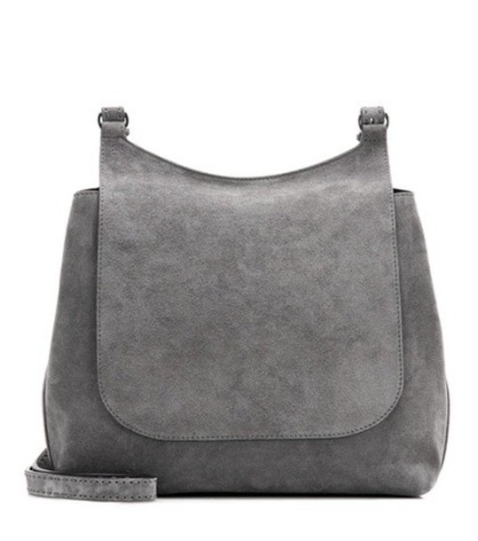 The Row Sideby Suede Shoulder Bag in grey