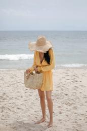 dress,hat,tumblr,vacation outfits,vacation dresses,mini dress,polka dots,v neck,v neck dress,yellow,yellow dress,sun hat,bag,woven bag