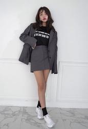 skirt,grey suit skirt,grey jacket,korean fashion,white shoes,graphic tee,kfashion,grey skirt,k-fashion,grey