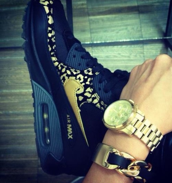 2012 Nike Wmns Air Max 90 Black Gold Leopard Running 325213