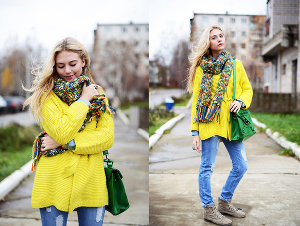 sweater romwe cardigan yellow