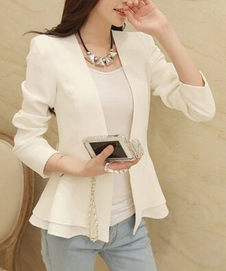 jacket white long sleeves girly pretty