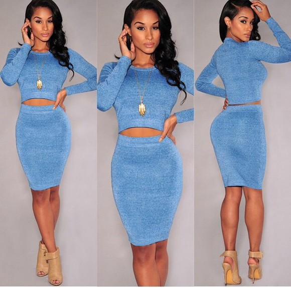 dress blue dress fashion style