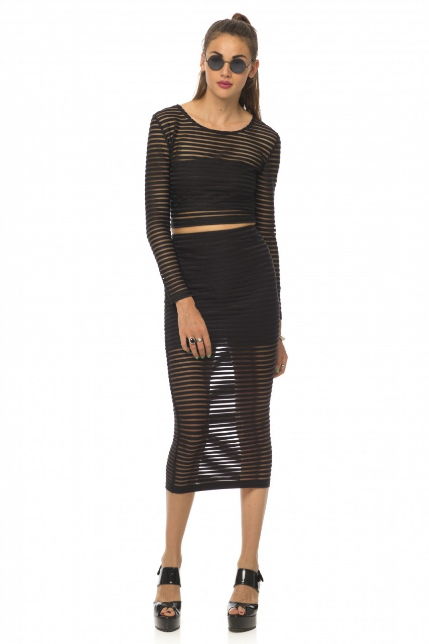 Motel Bobby Skirt and Bonnie Crop in Black Stripe Net