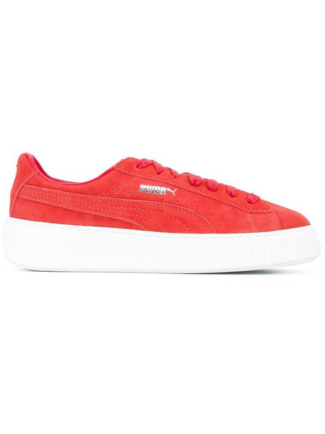 puma women sneakers platform sneakers leather cotton suede red shoes