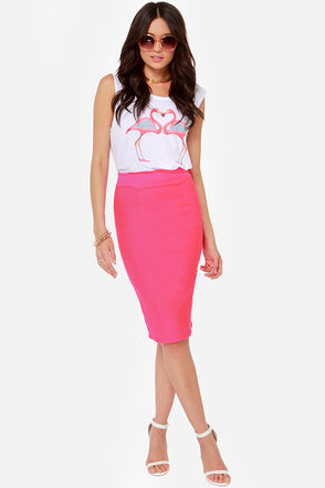 Cute Neon Pink Skirt - Midi Skirt - Pencil Skirt - $34.00