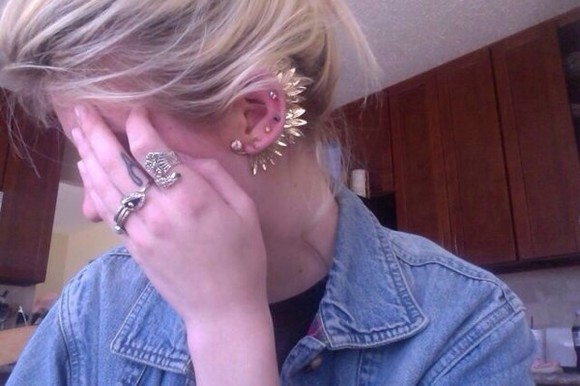 jewels or tumblr gold, earrings, rings,