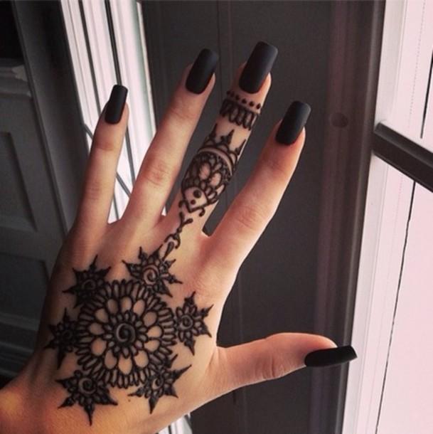 Nail Polish Tattoo Black Henna Nail Accessories Nail Art Tattoo Nails Nails Summer Cute Pretty Blouse Matte Black Jewels Home Accessory Wheretoget