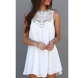 dress lace white white dress style hot summer girly feminine rose wholesale-jan homecoming dress cute short short dress white lace dress flowy trendy rg fashion floral lace dress girl girly wishlist sleeveless sleeveless dress boho dress summer dress summer outfits