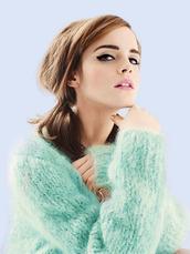 emma watson,sweater,knitted sweater,knitwear,green,turquoise,pink lipstick,green sweater,jumper,fuzzy sweater,hair/makeup inspo