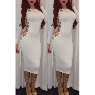 dress bodycon dress curvy sexy dress white dress rose wholesale bodycon white long sleeves criss cross
