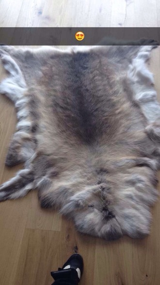home accessory white brown fur rag skin goatskin