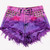 Katy Pink Purple Dyed Studded Shorts | RUNWAYDREAMZ