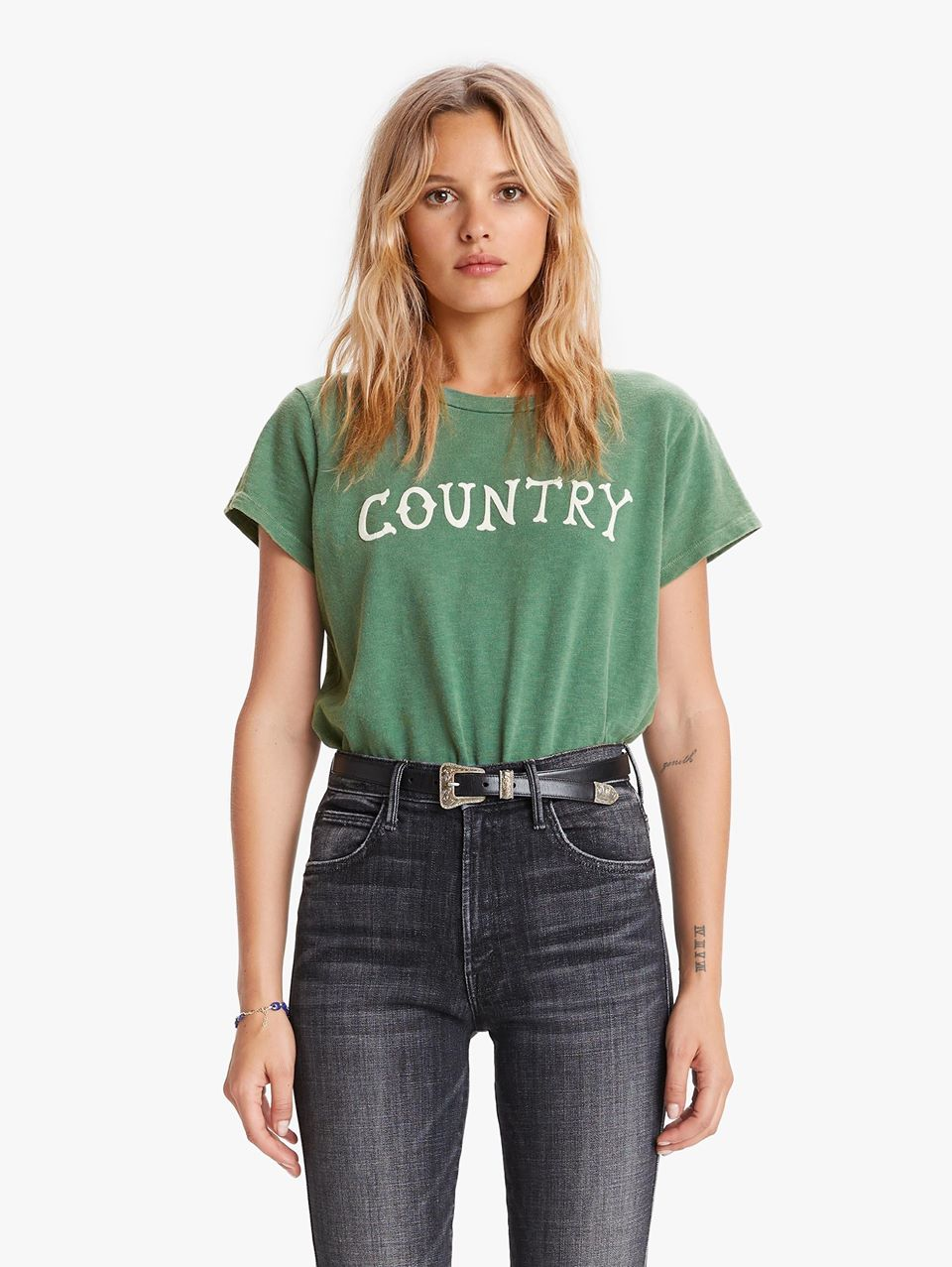 MOTHER The Boxy Goodie Tee Shirt Fatigue Country