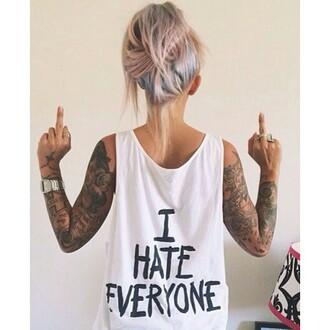 tank top debardeur tshirt. black t-shirt noir blanc white t-shirt i hate everyone