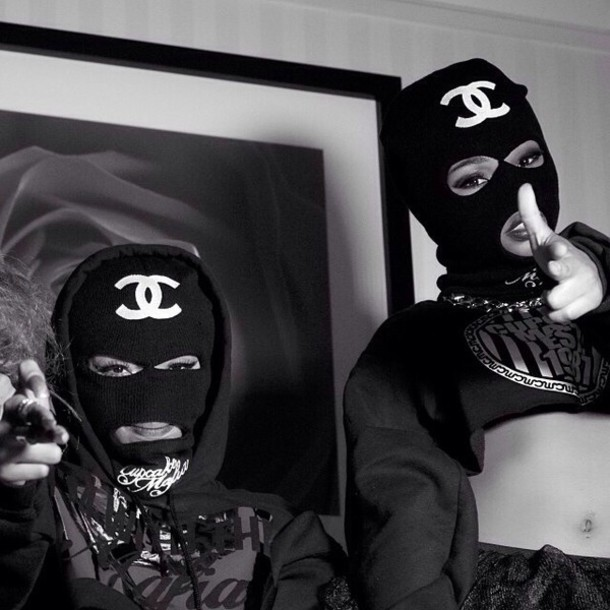 hat black swag nail accessories gangsta chanel skii mask