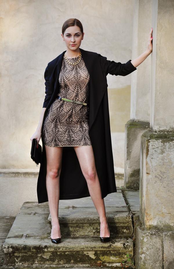 karina in fashionland dress coat belt bag shoes jewels