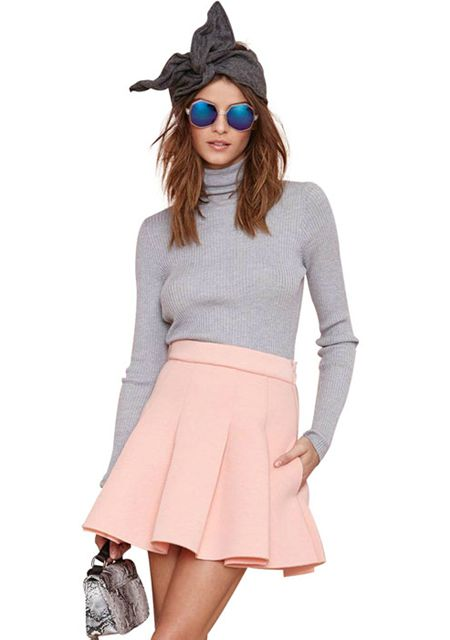 Women's pleated solid color high waist slim skirts online