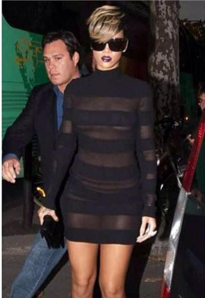 Dress Black Dress Rihanna Sexy Wheretoget