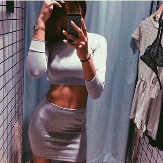 jumpsuit grey skirt grey top tumblr outfit grey outfit