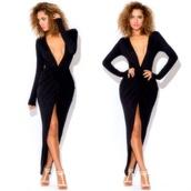 classy,maxi dress,little black dress,sexy,plunge neckline,dress,v neck dress,maxi,black
