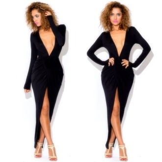 classy maxi dress little black dress sexy plunge neckline dress v neck dress maxi black