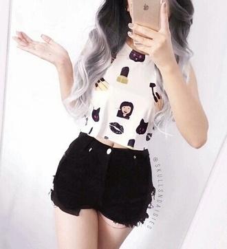 top weheartit crop tops black it girl shop grunge pastel instagram cute girly tumblr