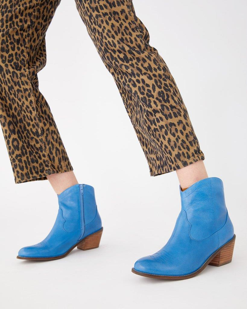 Mysterious Cowgirl Booties - Blue Leather