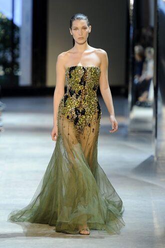 dress gown prom dress bella hadid model fashion week 2016 long prom dress see through dress strapless dress