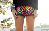 shorts,ethnic shorts,ethnic print,bohemian,colorful,aztec,ethnic,ethnic pattern,ethnic patterns,style,cute,hot,colorful shorts,clothes,sexy,pom pom shorts,pom poms,beach,summer,beach short,beach shorts,black,pink,blue,green,geometric,jewels,sweater,shirt,blouse,mini shorts