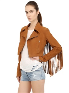 Cropped fringed kid suede jacket