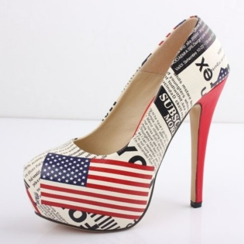 Hot selling print newspaper american flag 14cm high heels shoes for women platform high heel pumps ladies shoes plus size 35 43-inPumps from Shoes on Aliexpress.com