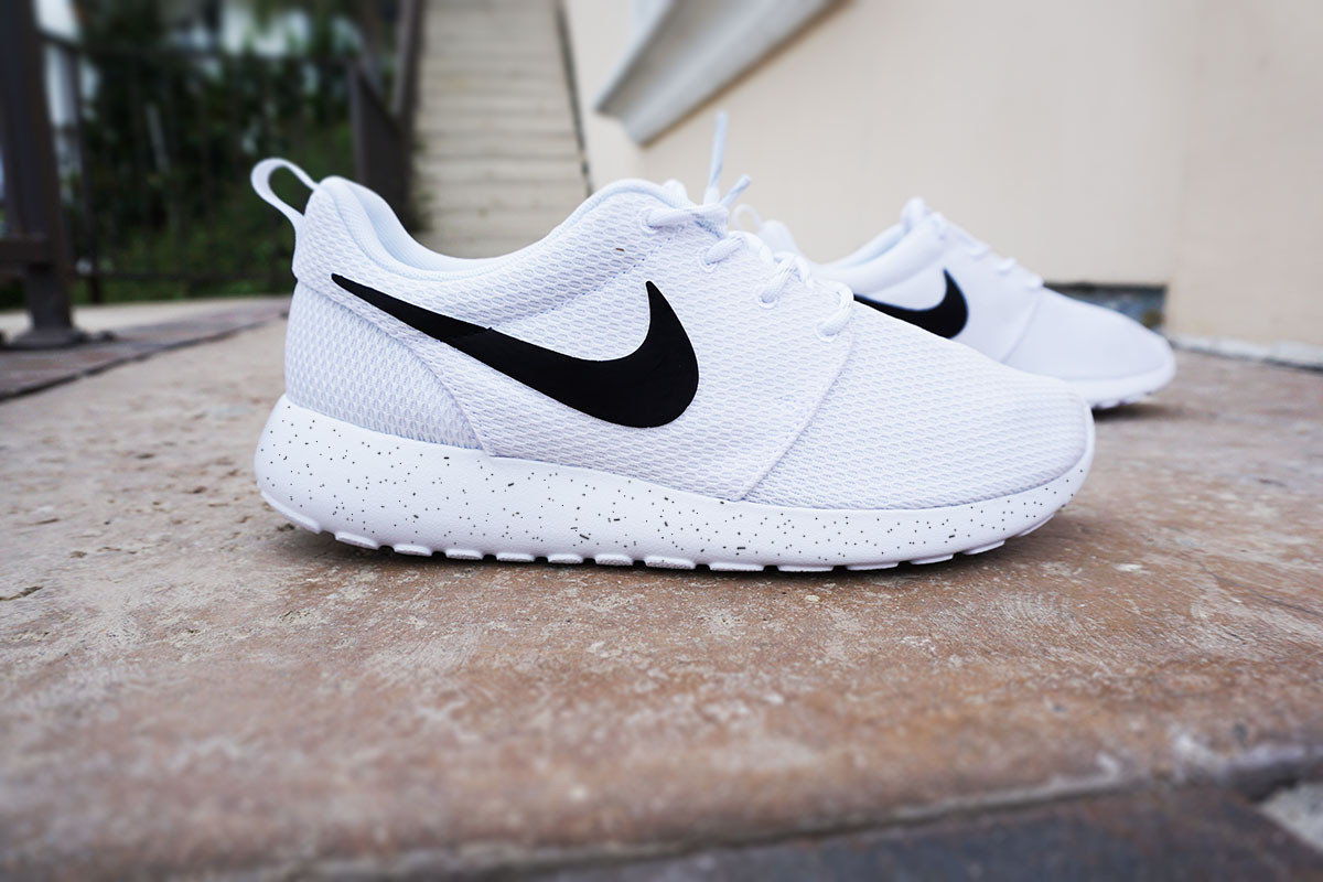 all white nike roshe with black swoosh