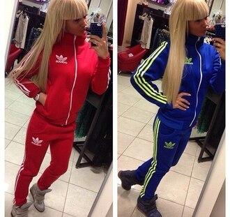 jumpsuit adidas red blue streetwear style tracksuit pants zip jacket sporty