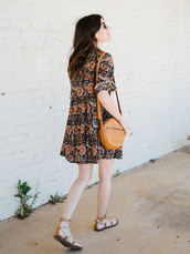 un-fancy,blogger,shoes,sunglasses,t-shirt,dress,tumblr,mini dress,printed dress,bag,brown bag,round bag,sandals,flat sandals,spring outfits,spring dress