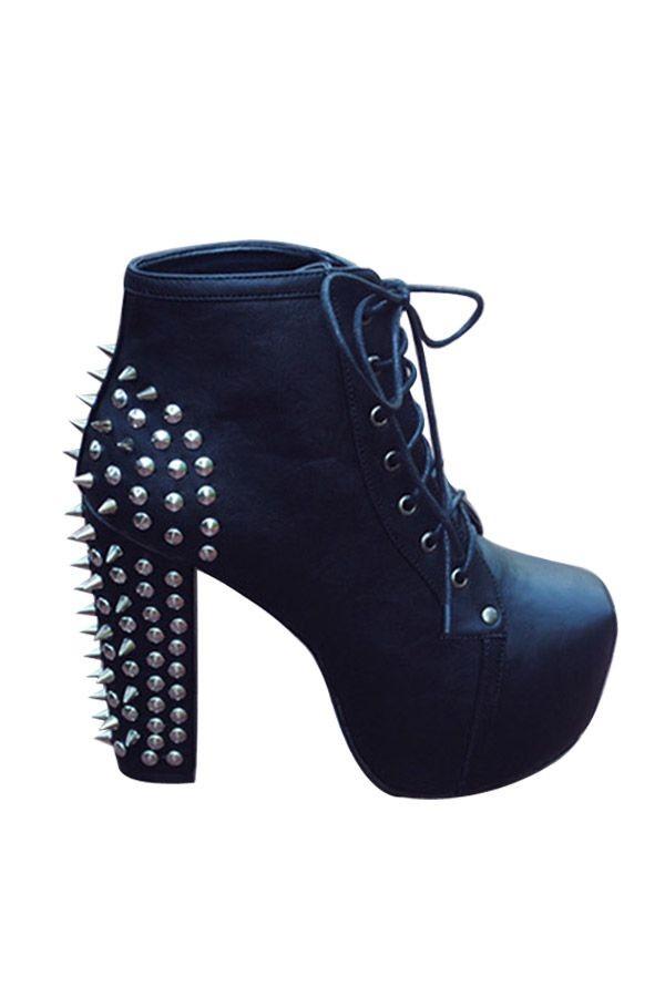 shoes heels black chunky chunky lace up high heels